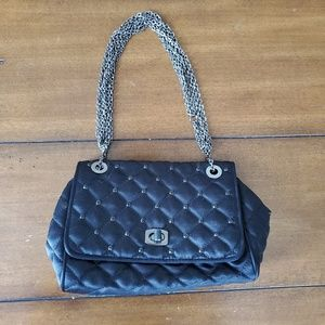 Black quilted jeweled Ann Taylor purse